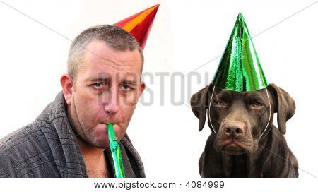 Man And Labrador With Hats