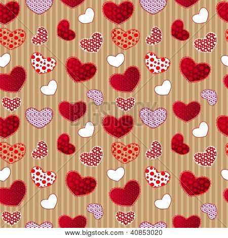 Red Vintage Love Valentin's Day Seamless Pattern