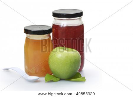 fresh homemade applesauce  jam in a jars with fresh fruits