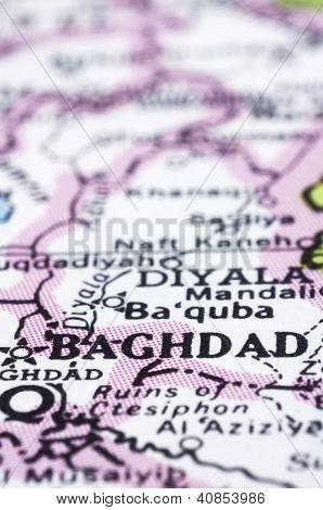 Nahaufnahme von Bagdad auf Karte, Irak