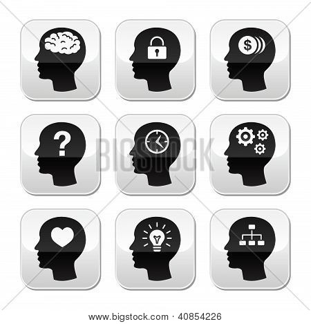 Head brain vector buttons set