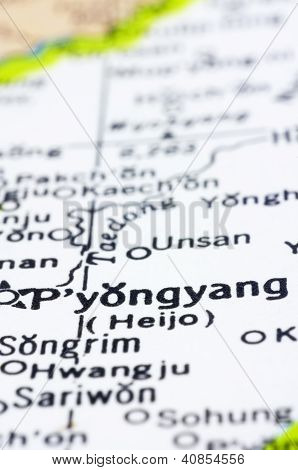 Close Up Of Pyongyang On Map, North Korea