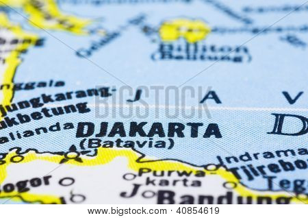 Close Up Of Jakarta On Map, Indonesia