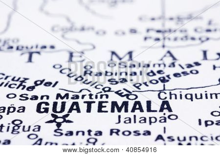 Close Up Of Guatemala On Map