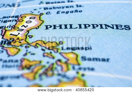 Close Up Of Philippines On Map