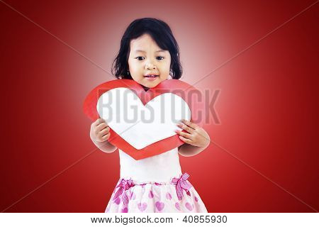 Girl With Love Heart Card