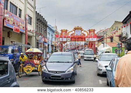 Jonker Walk With Chinese New Year Decoration In Melaka