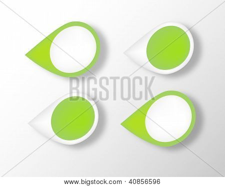 Green labels. Vector.