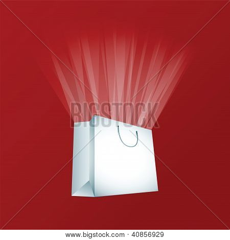 Vector white shopping bag