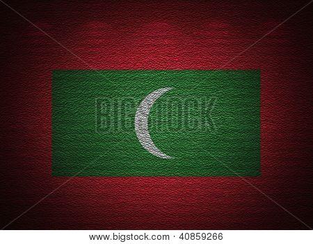 Maldivian Flag Wall, Abstract Grunge Background