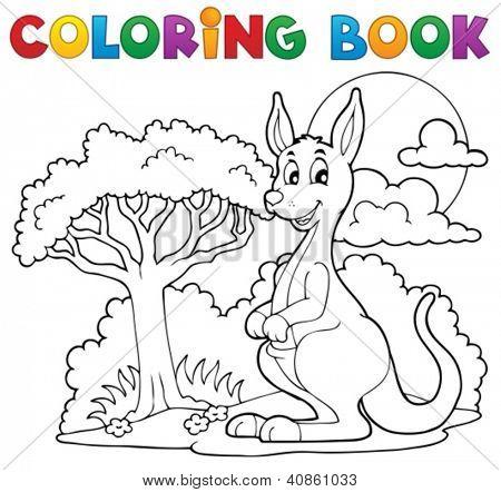 Livro de colorir com canguru feliz - ilustração vetorial.