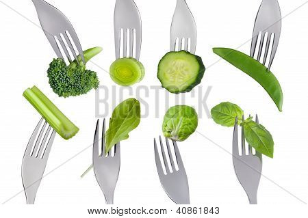 Healthy Raw Green Food Selection On White