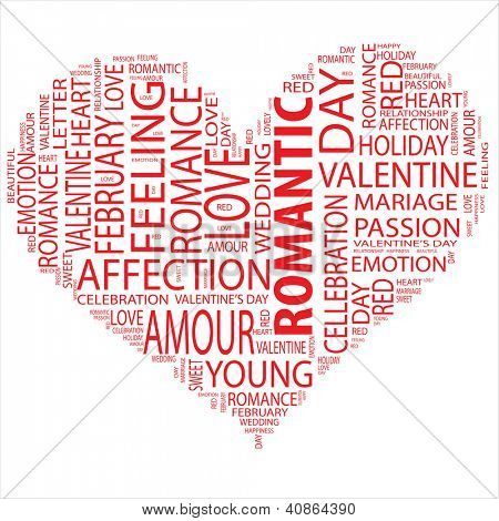 Concept or conceptual red wordcloud or text in shape of heart isolated on white background