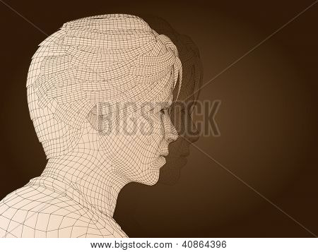 3D man or human head made of brown wireframe or mesh isolated on beige background