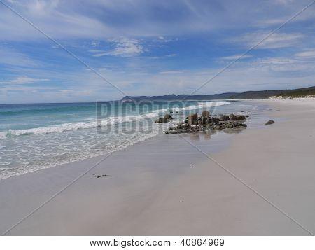 Friendly beach at freycinet national park in tasmania