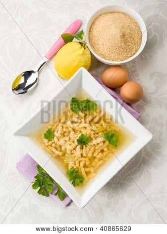 soup with passatelli, traditional italian recipe
