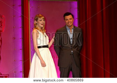 LOS ANGELES - JAN 10:  Emma Stone, Seth MacFarlane at the 2013 Academy Award nomination announcements at Samuel Goldwyn Theater on January 10, 2013 in Beverly Hills, CA