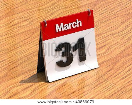 Calendar On Desk - March 31St
