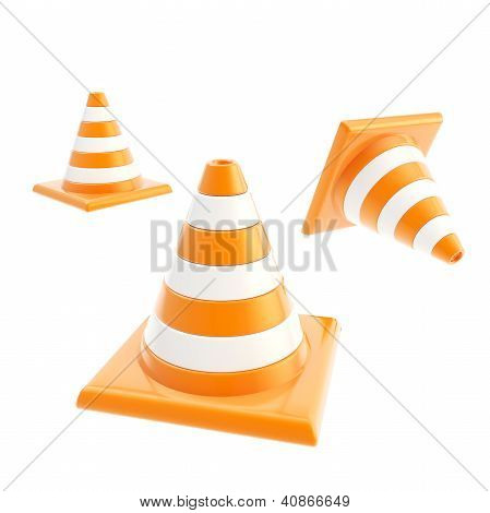 Roadworks Orange Cone Composition Isolated