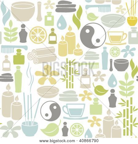 seamless pattern with colorful spa icons