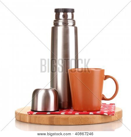 metal thermos with cup on wooden board isolated on white