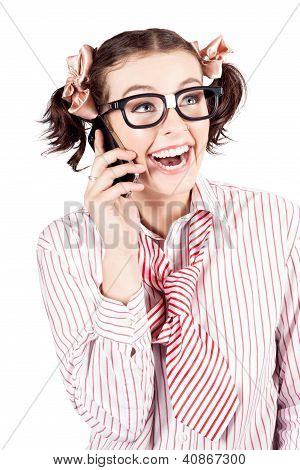 Laughing Nerdy Woman On A Smartphone