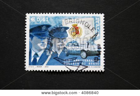 Italian Postage Stamp With Policemen