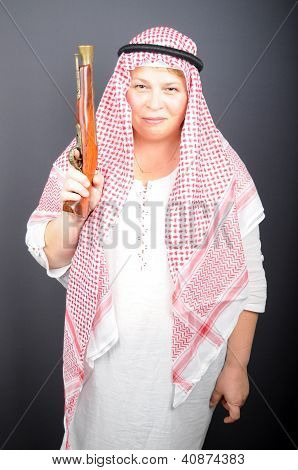 Happy Woman With Old Gun