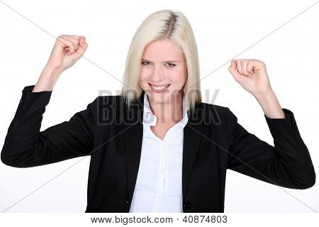 Excited female businesswoman