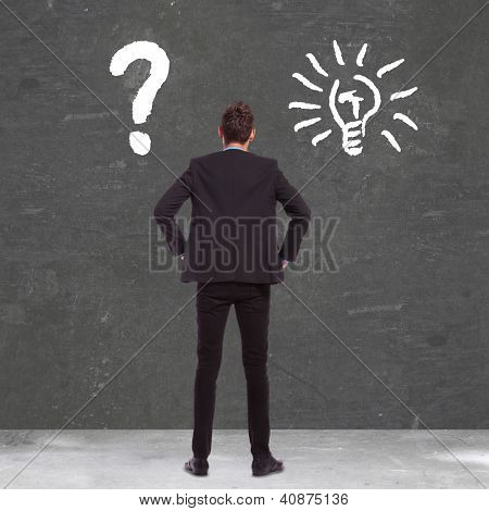 back picture of a business man between confusion and a great idea