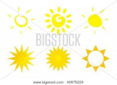 Set of hand drawn vector sun yellow symbol, clip art icon isolated on white background