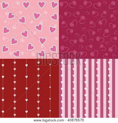 Set Of Valentine Seamless Retro Pattern