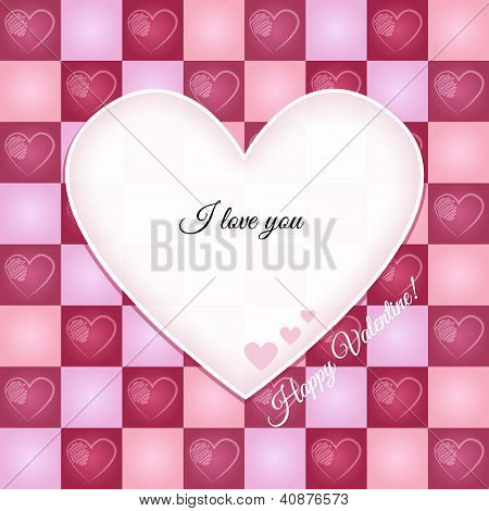 Valentine Retro Greeting Card With Heart Pattern