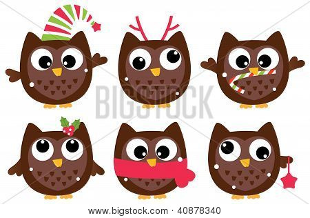 Cute Cartoon Christmas Owls Set Isolated On White