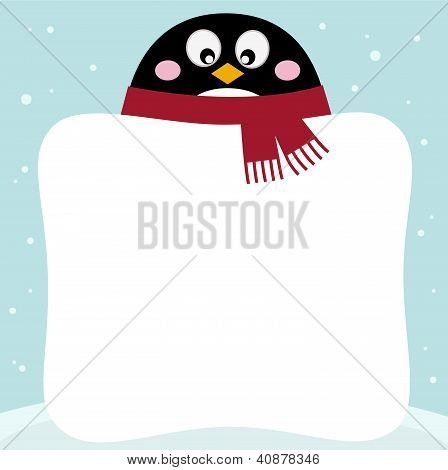 Winter Penguin With Blank Banner On Snowy Background