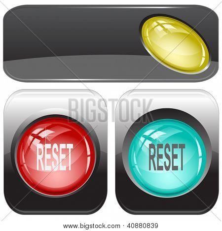Reset. Internet buttons. Raster illustration.