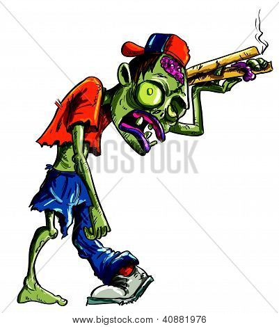 Cartoon illustration of green zombie pizza seller