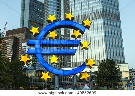 Euro Symbol In Frankfurt By Night