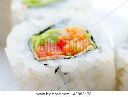 Vegetarian Sushi Rolls, Macro
