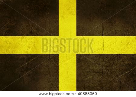 Grunge illustration of Flag of Saint David, Wales.