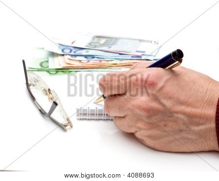 Hand, Pen, Notebook, Glasses And Money