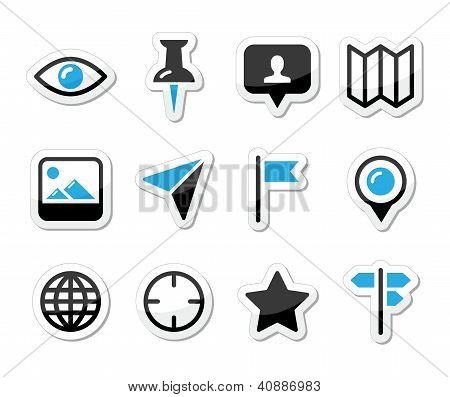 Location map traveling icon set - vector