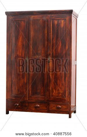 Old Hancrafted Cupboard Isolated Over White Background. 19Th Century