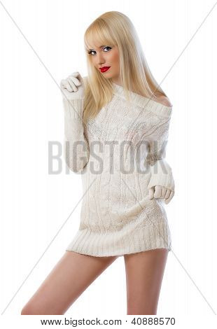 Beautiful Woman In Knitted Dress