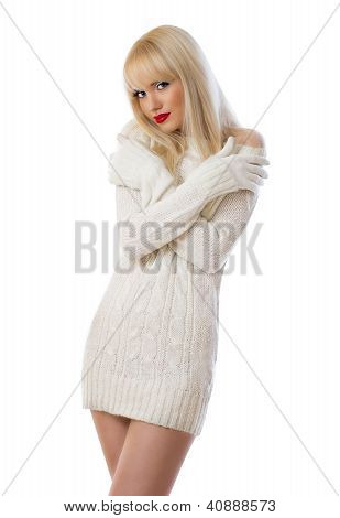 Pretty Blonde Woman In Knitted Dress