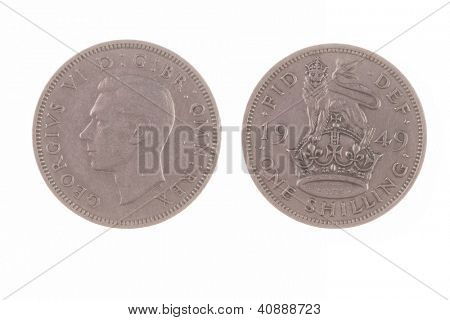 1949 British one shilling no longer in use and out of circulation