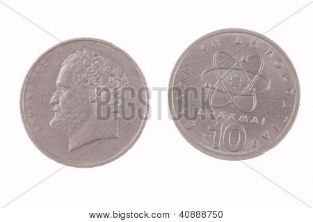 Greek 10 Drachma coin isolated on a white background