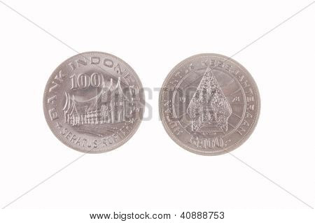 Indonesian 100 Rupiah coin isolated on white