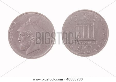 Greek 20 Drachma coin isolated on white