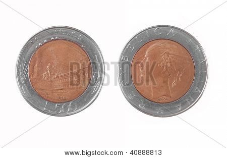 old Italian 500 Lire coin isolated on white